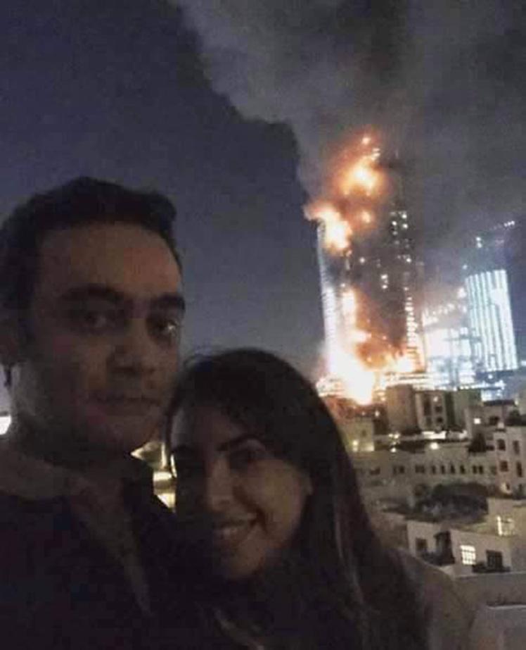 dubai skyscraper fire selfie