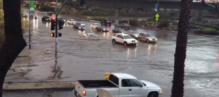 INSANE! $250,000 Lamborghini Drives RIGHT Into San Diego Floodwaters…