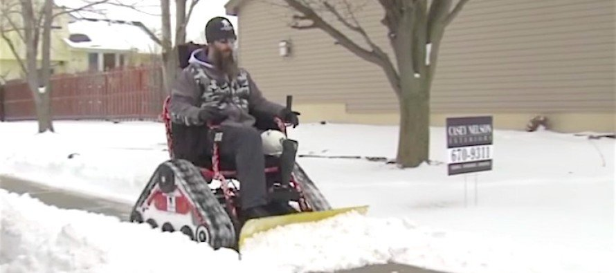 A Wounded Vet is Helping Neighbors by Plowing Snow in His Wheelchair (VIDEO)