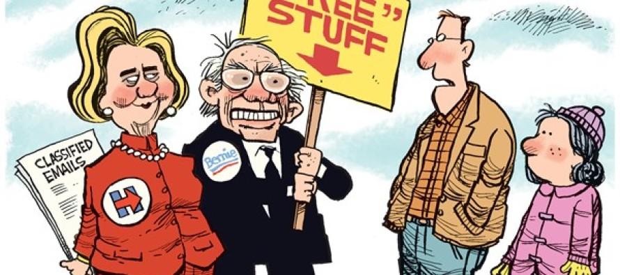 Hillary and Bernie COLOR (Cartoon)