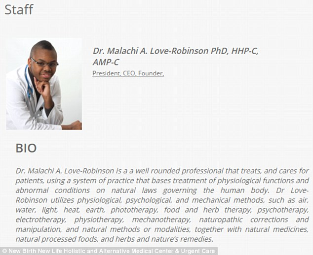 314CA9BB00000578-0-Bio_hazard_Dr_Love_Robinson_s_biography_on_the_official_New_Birt-a-51_1455669552812