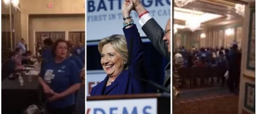 Look at What Was Caught on Tape as Hillary Celebrated Win in Nevada
