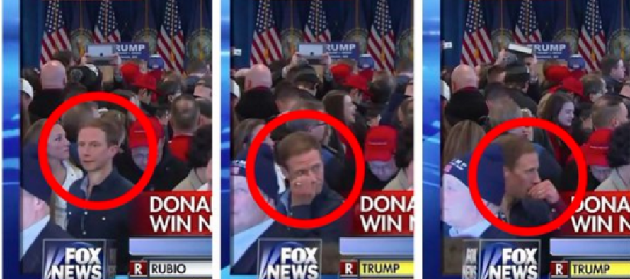 Man Caught Doing THIS in Audience During Trump Victory Speech