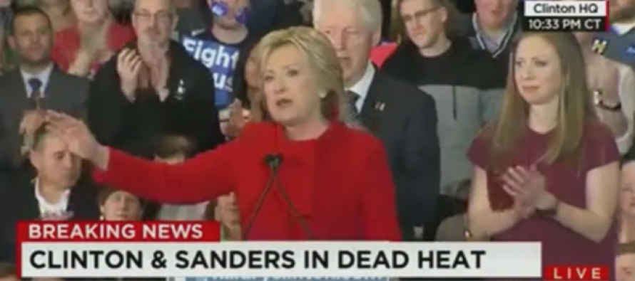 Watch What Was Happening Behind Hillary During Her 'Victory' Speech Last Night