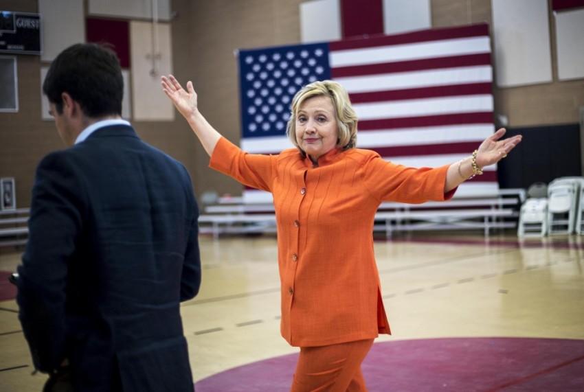 hillary-clinton-shrug-orange-pantsuit-emails-2
