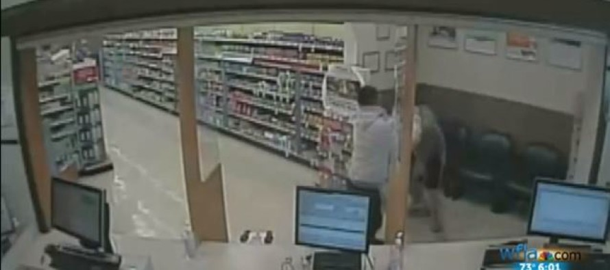 Thug Jumps On Store Counter Demanding Money- Then Gets BRUTAL Surprise From Behind HIM!