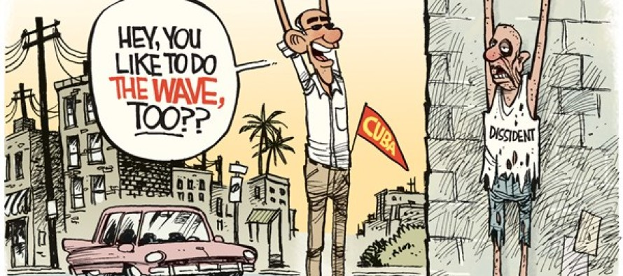 Obama Cuba Wave (Cartoon)