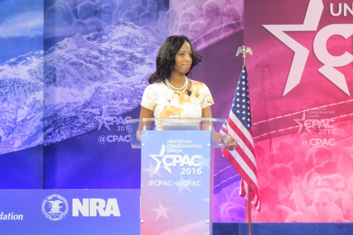 Mia Love speaks from the main stage at CPAC