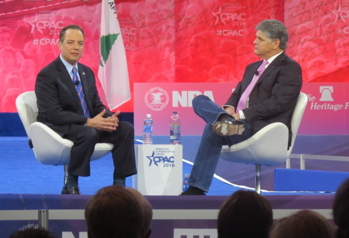 Sean Hannity chats with RNC chairman Reince Priebus on stage