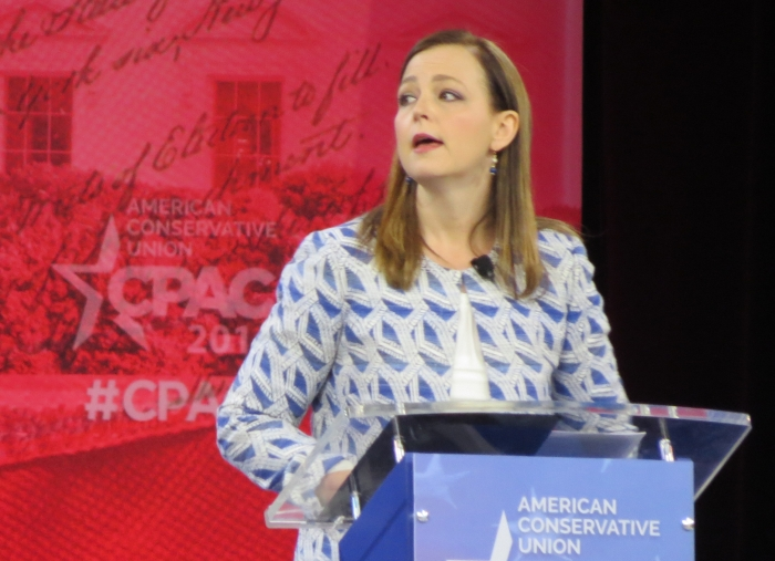 Jenny Beth Martin speaks from the main stage at CPAC