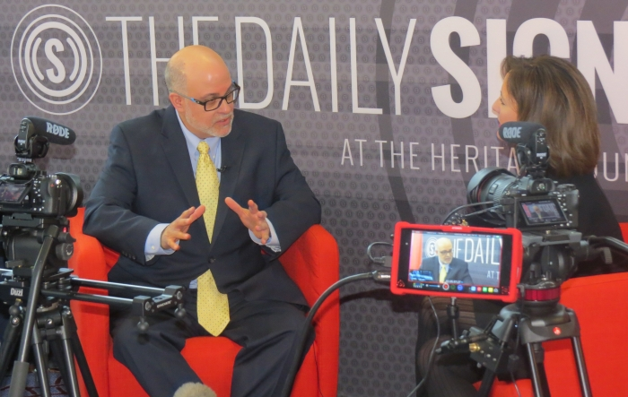 Mark Levin on radio row, chatting with the Daily Signal on Day 2