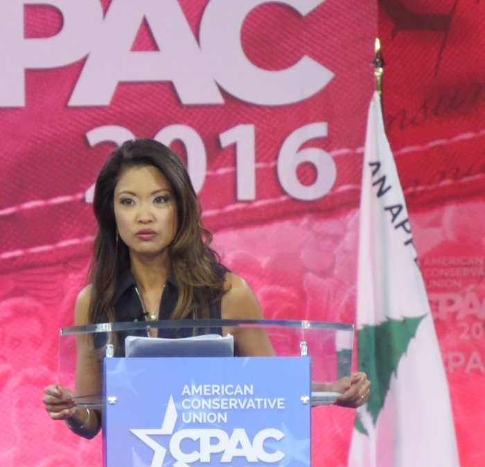 Michelle Malkin speaks from the main stage