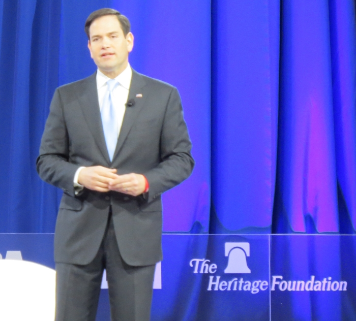 Marco Rubio from the main stage at CPAC