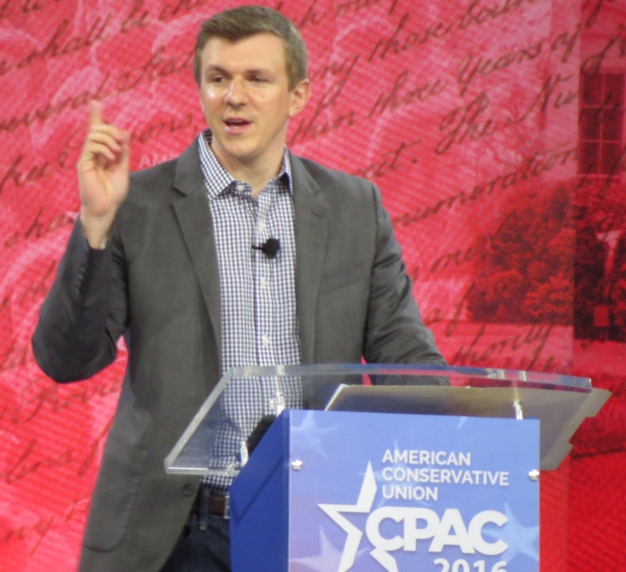 James O'Keefe speaks from the main stage on Day 3