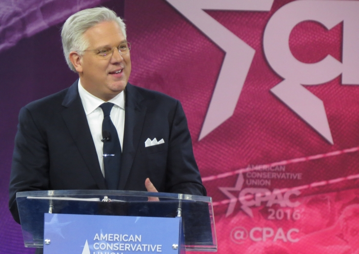 Glenn Beck speaks from the main stage