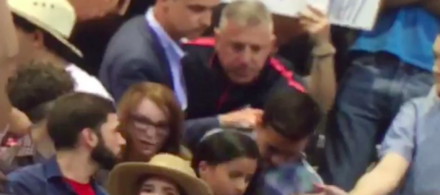 Whoa! Trump's Campaign Manager Appears to Grab Protester by Collar and Violently Yank Him Back