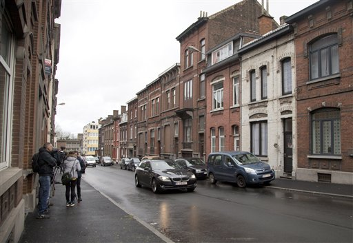 A general view of the Rue Fort in Charleroi, Belgium, on Wednesday, Jan. 13, 2016. A residence located on the street was named by the Belgian prosecutors office on Wednesday as a safe house for the plotters of the Paris attacks. The residence was rented in Sept. 2015 under a false identity and was searched by police in Dec. 2015. Inside the residence the investigators found mattresses and fingerprints of attackers Bilal Hadfi and Abdelhamid Abaaoud. (AP Photo/Virginia Mayo)