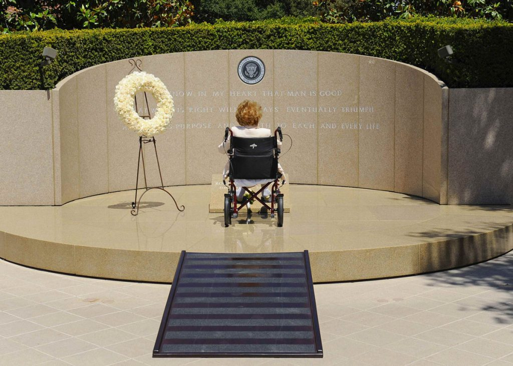 Former first lady of the United States Nancy Reagan visits the grave site of her husband, former U.S. President Ronald Wilson Reagan, at the Ronald Reagan Presidential Library on the 10th anniversary of his passing, in Simi Valley