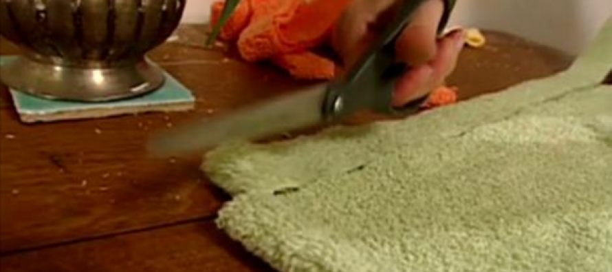 She Takes Scissors to an Old Bath Towel… What Happens Next? Wow!