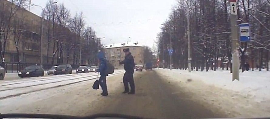 Dramatic Moment HERO Cop Uses His Body To Shield Young Boy From Getting Hit By A Car