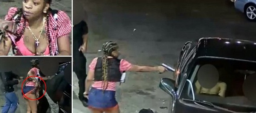 Female Shooter is Caught on CCTV Shooting Man in His Car After Pulling a Gun From Her Underpants