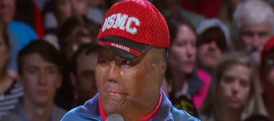 Marine Disfigured By Bomb Stands Up at Trump Rally… What Happens Next? Unbelievable!