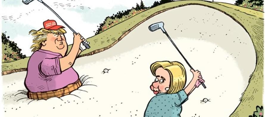 Trump Clinton Nomination Hazard (Cartoon)