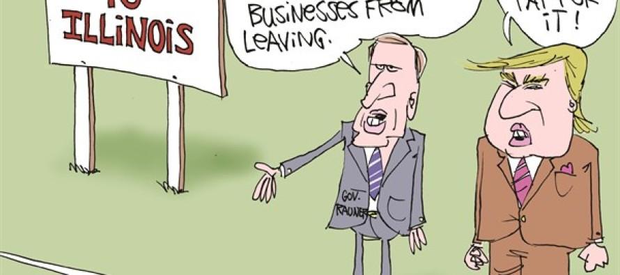 Rauner Needs Trump Wall LOCAL-IL (Cartoon)