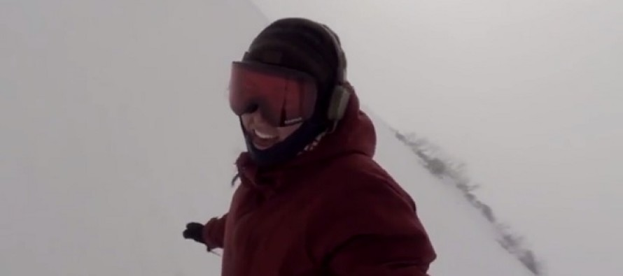 VIDEO: This Snowboarder Was Filming Her Run, But Was Completely Oblivious To What's Chasing Her