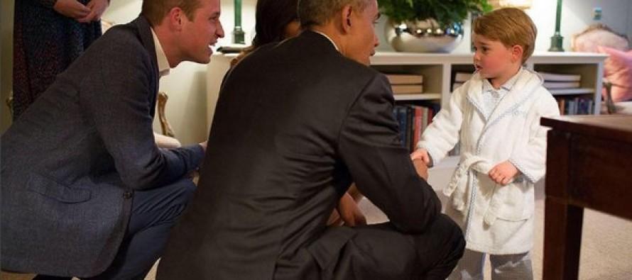 Prince George Meets Barack Obama – In His Bathrobe