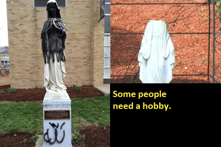 virgin mary statue beheaded