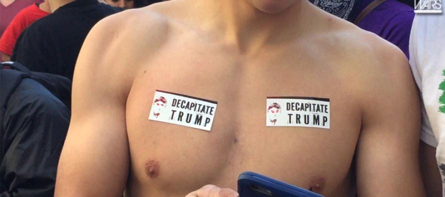 Violent Leftist Protester Mob Demands Donald Trump Beheaded [VIDEO]