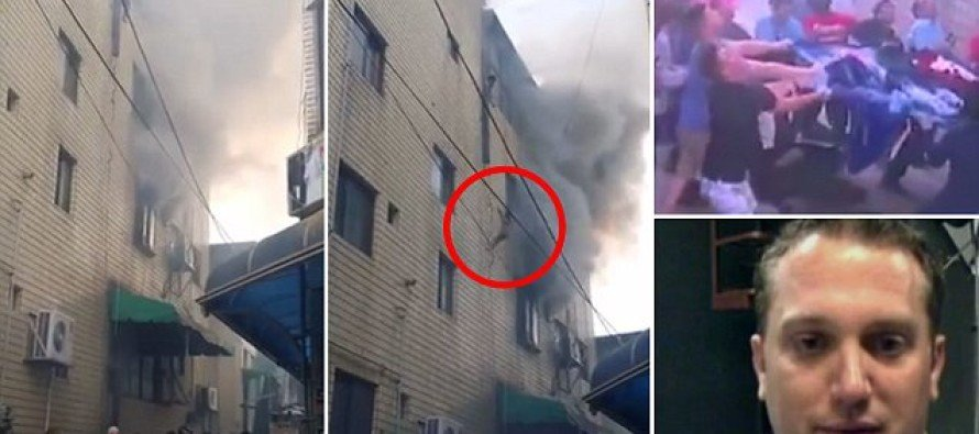 VIDEO: Woman DROPS her children from BURNING fourth story window, and US AIRMEN does THIS!