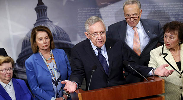 (L-R) U.S. Senator Barbara Mikulski (D-MD), House Minority Leader Nancy Pelosi (D-CA), Senate Minority Leader Harry Reid (D-NV), Senator Chuck Schumer (D-NY) and Representative Nita Lowey (D-NY) participate in a news conference to call on Republicans in congress to pass legislation to fund efforts against the spread of the Zika virus, at the U.S. Capitol in Washington, U.S. April 27, 2016. REUTERS/Jonathan Ernst      TPX IMAGES OF THE DAY