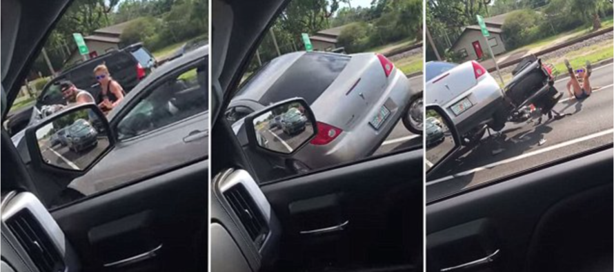 The Horrifying Moment Thug RUNS OVER Veteran's Motorbike and Sends Him Flying [VIDEO]