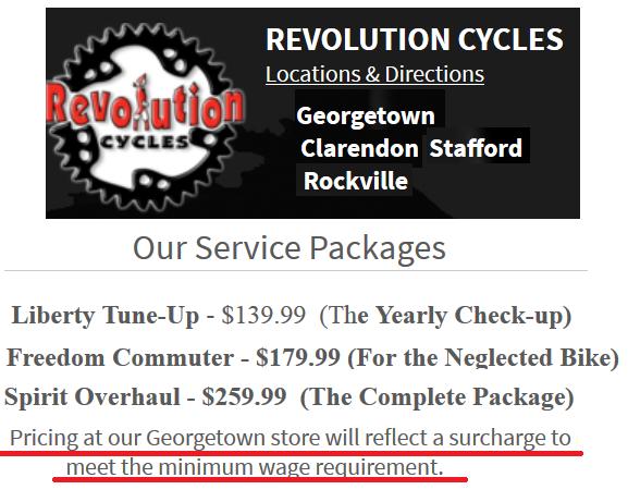 bike shop minimum wage