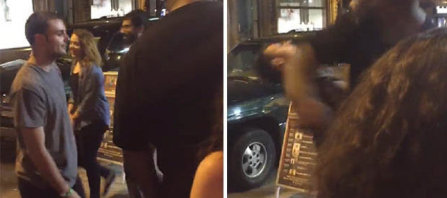VIDEO: Big Mouthed Drunk Dares Bouncer To Swing Because He'll Dodge His Punch