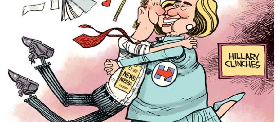 Hillary Clinches (Cartoon)