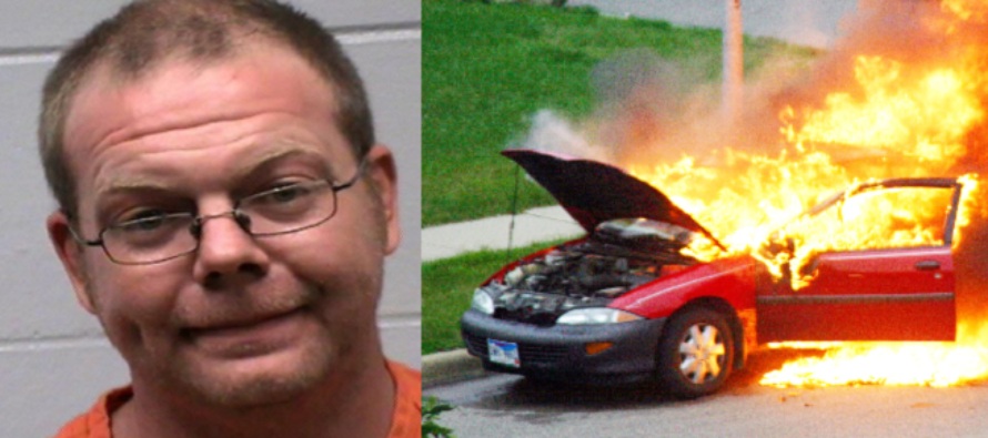 Man torches car and drinks a PBR; police not thrilled.