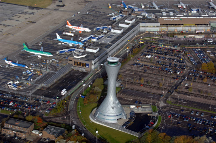 Aerial view of Edinburgh Airport, runway and control tower. Image shot 2007. Exact date unknown.
