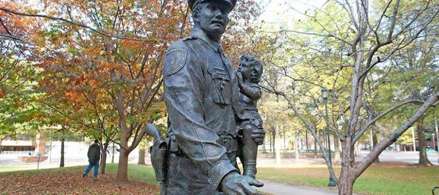 Memorial Of Police Statue Is Vandalized…And The Message Points To BLM