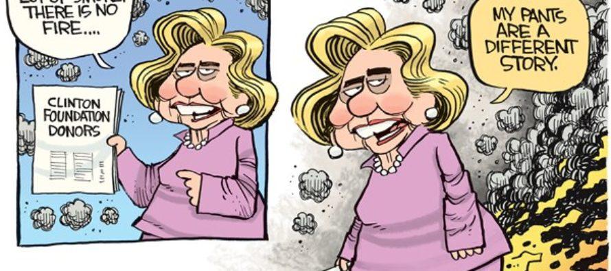 Hillary Pants On Fire (Cartoon)