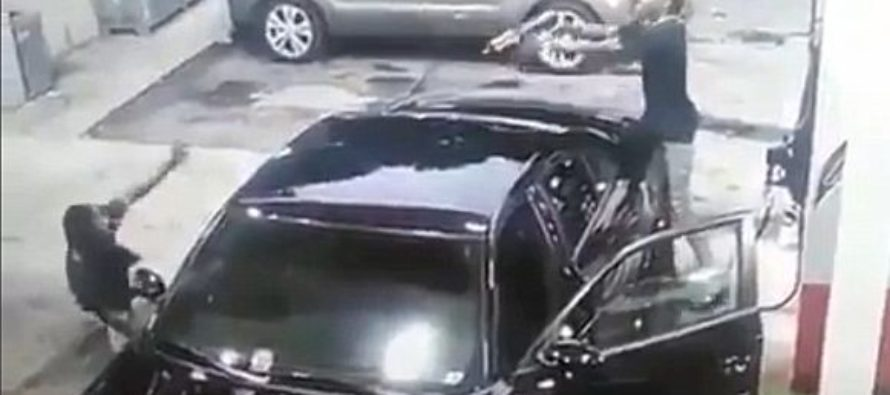 Heart Racing Footage Of Machine Gun Shoot Out At Gas Station Has SHOCK Ending… [VIDEO]
