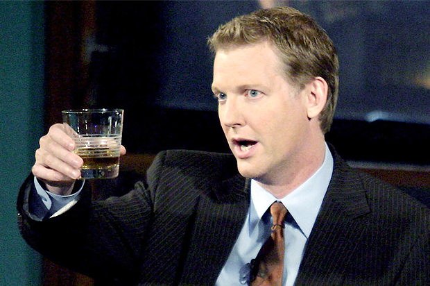 comedian Craig Kilborn toasts during the last of his shows in Los Angeles.
