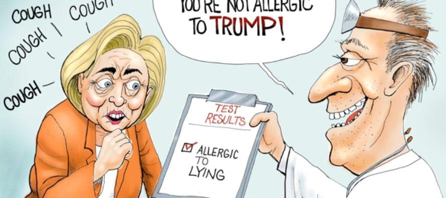 Hillary Test Results (Cartoon)