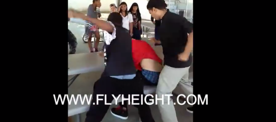 VIDEO: White Boy Gets Help from an Unlikely Hero While Being Jumped by Two Guys