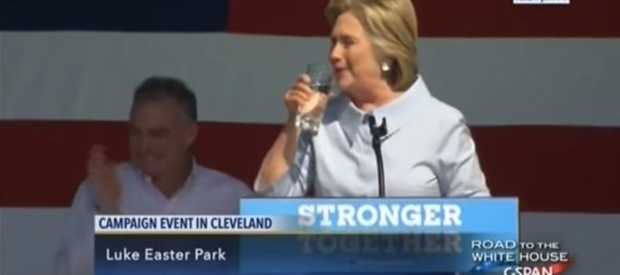 Hillary Has Coughing Fit Then Spits MYSTERY Substance Into Water Glass – VIDEO