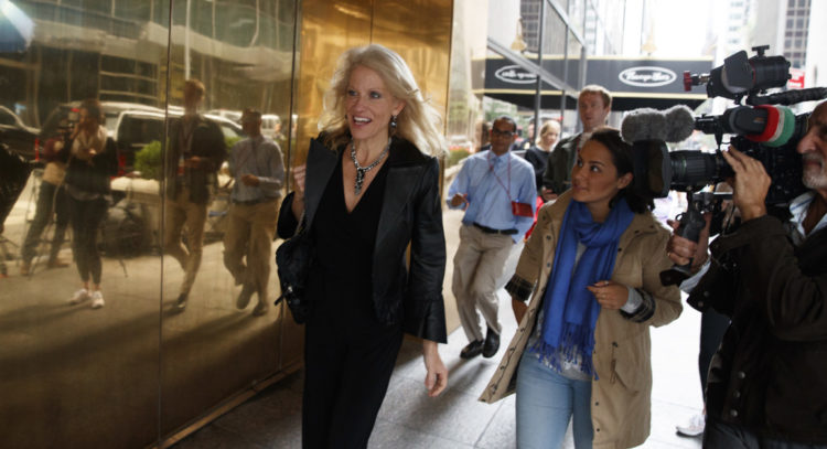 Kellyanne Conway, campaign manager for Republican presidential candidate Donald Trump, arrives at Trump Tower, Saturday, Oct. 8, in New York. | AP Photo