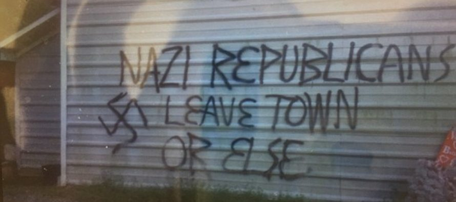 """NC Republican Headquarters Firebombed: """"Nazi Republicans Get Out Of Town Or Else!"""" [VIDEO]"""