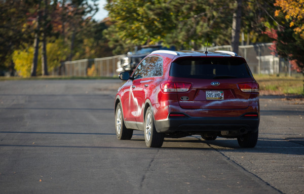 BANGOR, MAINE -- 10/15/2016 -- A car vandalized with spray paint during a rally for Republican presidential nominee Donald Trump pulls out of the Cross Insurance Center parking lot Saturday evening after the rally. Micky Bedell | BDN